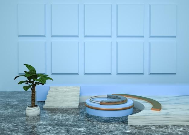 Abstrakter geometrischer hintergrund der 3d-wiedergabe mit kreisförmigem podium