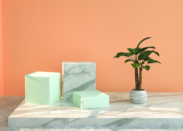 Abstrakter geometrischer hintergrund des 3d-renderings mit rechteckpodest für modellanzeige