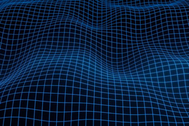 Abstrakter geometrischer hintergrund mit digitaler landschaft oder wellen.