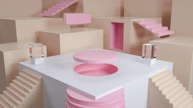 Abstrakter geometrischer hintergrund mit kreispodest für produktstand