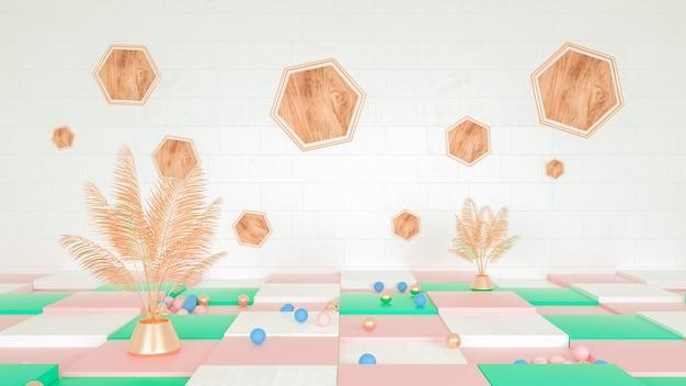 Abstrakter geometrischer hintergrund mit sommerkonzept für modellanzeige