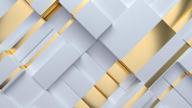 Abstrakter geometrischer hintergrund mit weißen und goldenen zufälligen kästen