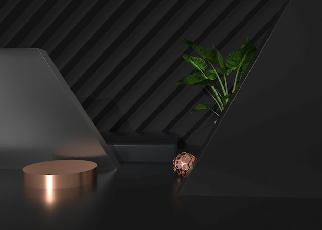 Abstrakter geometrischer schwarzer hintergrund der 3d-wiedergabe mit podium