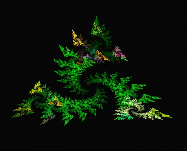 Abstrakter gewundener grüner blumenfractalhintergrund