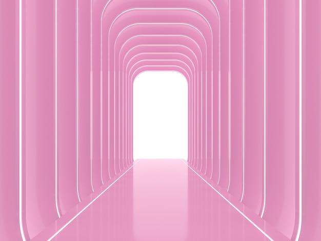 Abstrakter glänzender rosa raumhintergrund 3d renderdecorate mit led-streifenlicht