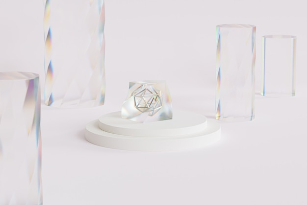 Abstrakter glaskristall mit dispersion auf podium oder sockel, beiger hintergrund, minimaler 3d-illustrationsrender