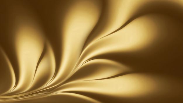 Abstrakter goldener hintergrund mit glatten wellenlinien