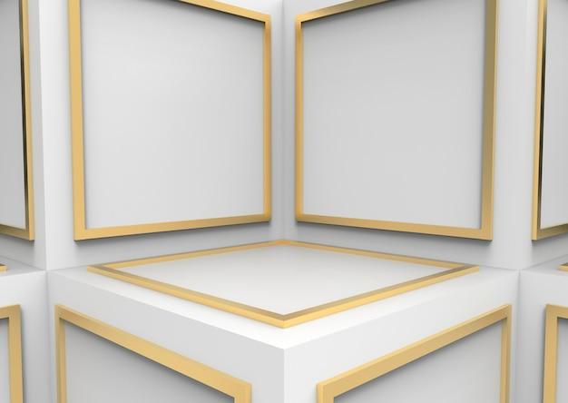 Abstrakter goldener quadratischer formblock auf weißwürfel boxt cornor wandhintergrund.