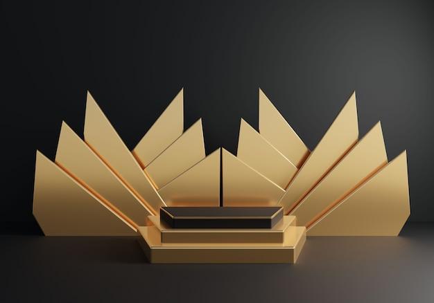 Abstrakter goldener sockel mit goldener dekoration auf schwarzem hintergrund.