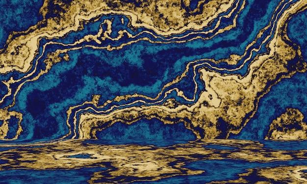 Abstrakter goldener und blauer zementwandhintergrund.