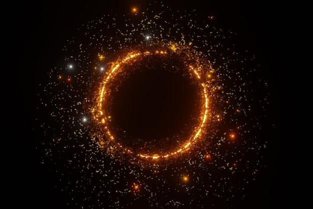 Abstrakter goldglitter funke partikel kreis raum 3d-rendering