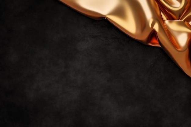 Abstrakter goldstoff auf schwarzer hintergrundbeschaffenheit mit elegantem satinmaterial. 3d-rendering.