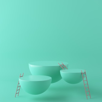 Abstrakter grüner hintergrund mit geometrischem formpodium und -treppe. 3d-rendering