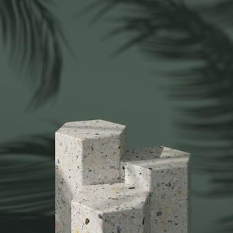 Abstrakter grüner hintergrund mit geometrischem hexagonform-terrazzopodium für produkt. minimales konzept. 3d-rendering