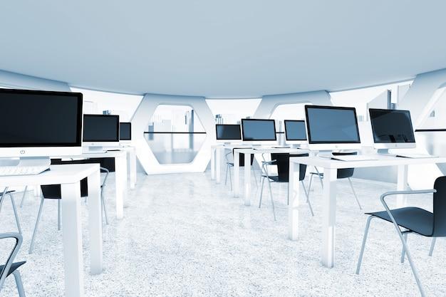 Abstrakter heller büroinnenraum mit arbeitsplätzen in der extremen nahaufnahme des blauen schlüssels. 3d-rendering