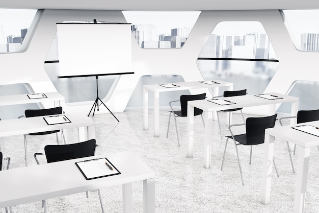 Abstrakter heller büroinnenraum mit extremer nahaufnahme der arbeitsplätze. 3d-rendering