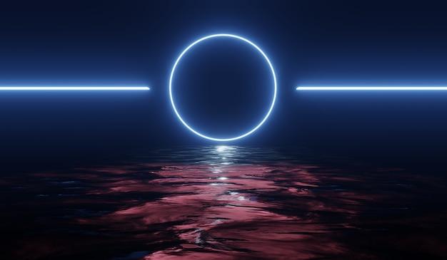 Abstrakter hintergrund 3d mit blauem rundem neonlicht. 3d-illustration.
