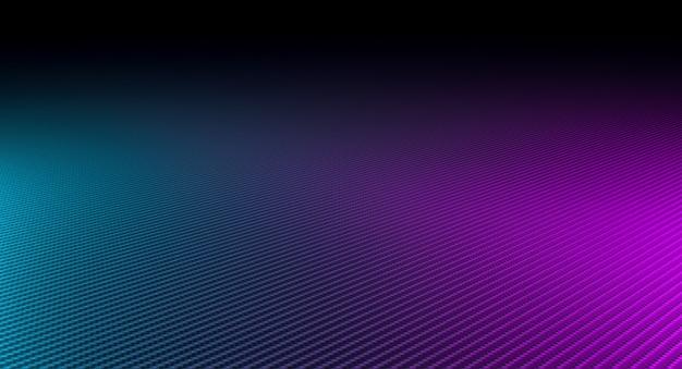 Abstrakter hintergrund aus kohlefaser und lichtern verschiedener farben.