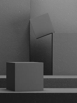 Abstrakter hintergrund aus schwarzem blockziegel-podium für die produktpräsentation 3d-rendering-illustration