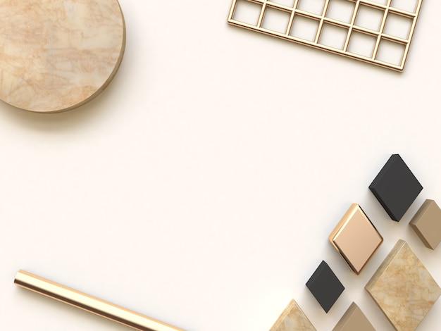 Abstrakter hintergrund creme schwarz gold flach legen 3d-rendering
