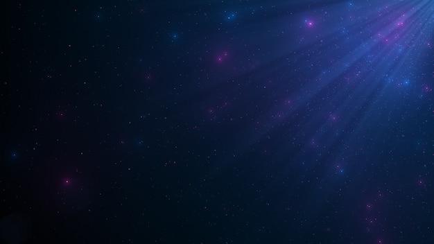 Abstrakter hintergrund der funkelnden schwebenden blauen staubpartikel
