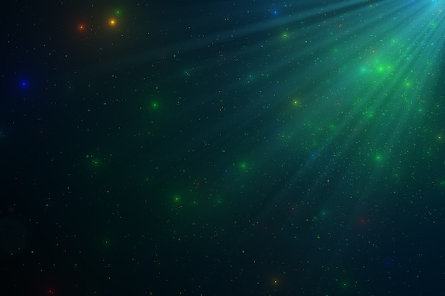 Abstrakter hintergrund der funkelnden schwebenden grünen staubpartikel