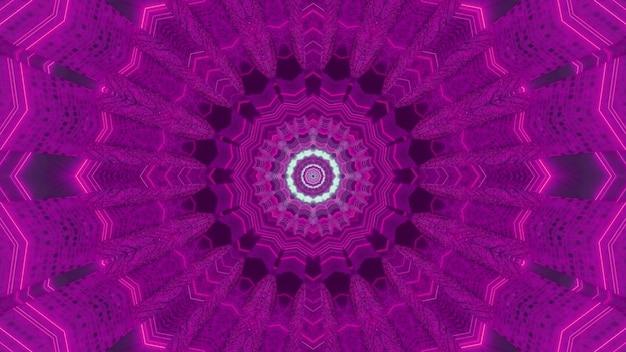 Abstrakter hintergrund der futuristischen perspektive 3d illustration des purpurfarbenen kreisförmigen science-fiction-tunnels mit kaleidoskopischem effekt und neonlichtern