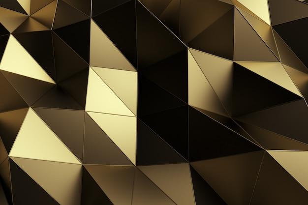Abstrakter hintergrund der geometrischen goldoberfläche. computergenerierte schleifenanimation. moderner hintergrund mit polygonaler form. 3d-illustrationsbewegungsdesign für plakat, abdeckung, branding, banner.