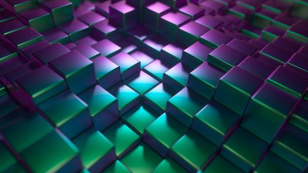 Abstrakter hintergrund der glänzenden metallwürfel