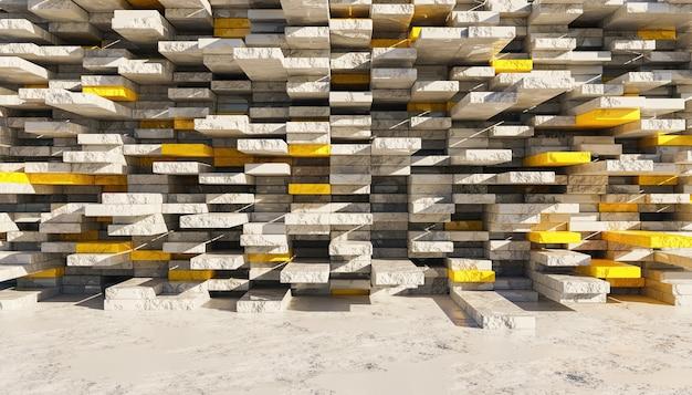 Abstrakter hintergrund der grauen und gelben marmorblockwand in den ruinen, die durch die sonne beleuchtet werden