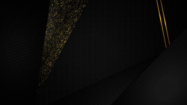 Abstrakter hintergrund der papierschnitt-schwarz- und goldkunst