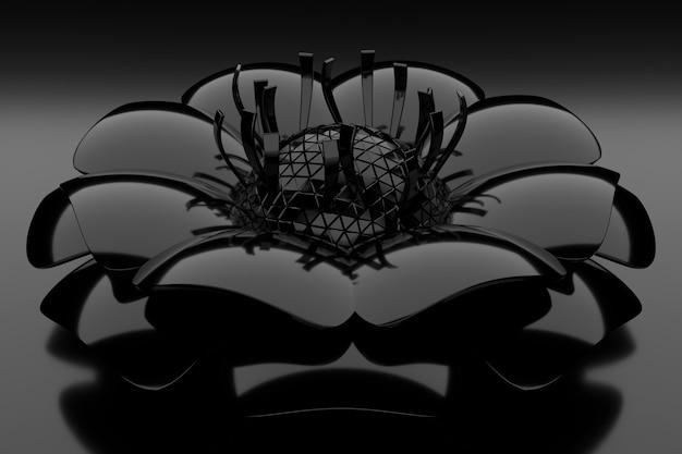 Abstrakter hintergrund der schwarzen blume. 3d-rendering.