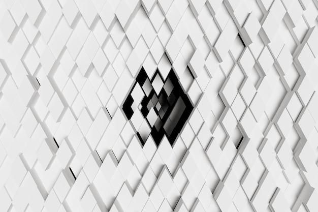 Abstrakter hintergrund der weißen diamanten, die in der mitte in richtung eines schwarzen hintergrunds sinken. 3d-rendering