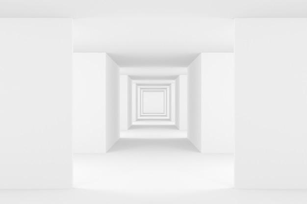 Abstrakter hintergrund der weißen innenarchitektur. 3d-rendering.
