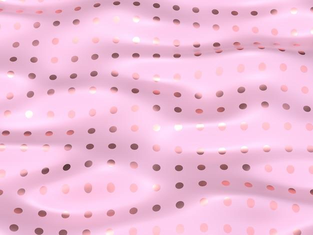 Abstrakter hintergrund der wiedergabe des rosafarbenen goldwellenwassergewebes 3d