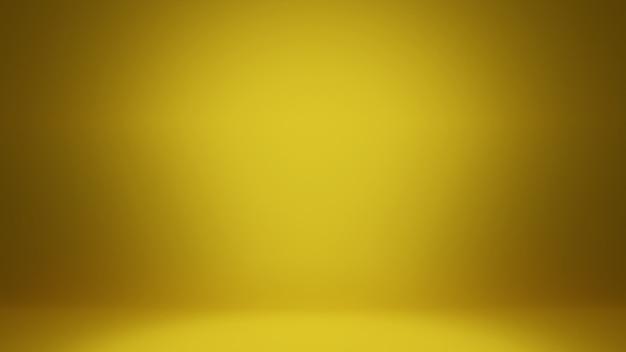 Abstrakter hintergrund des 3d-renderings. glattes gelbgold mit schwarzer vignette