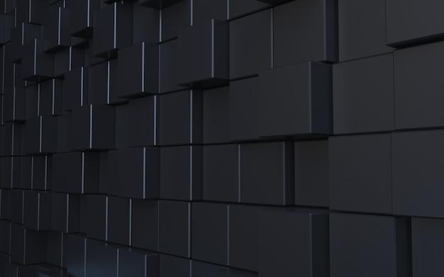 Abstrakter hintergrund des 3d-renderns des schwarzen würfels