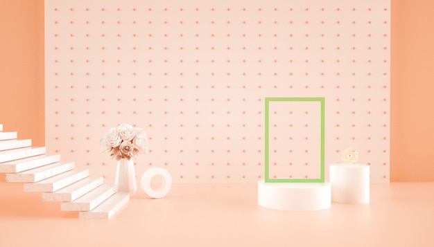 Abstrakter hintergrund des 3d-renderns mit blumen auf dem tisch