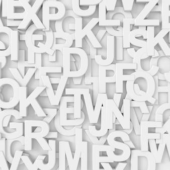 Abstrakter hintergrund des gelegentlichen englischen alphabetes. 3d-rendering.