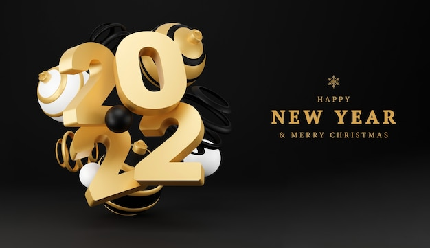 Abstrakter hintergrund des neuen jahres mit kugeln 3d. schwarz-gold-weihnachtsluxus-minimalkonzept. dekorationsdesign für das neue jahr. 3d-rendering