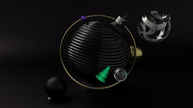 Abstrakter hintergrund des neujahrsfeiertags mit goldenen und schwarzen weihnachtsballons. 3d-rendering