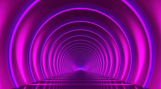 Abstrakter hintergrund des rundtunnelpodiums. reflexionsstufe für violettes licht. 3d rendern.