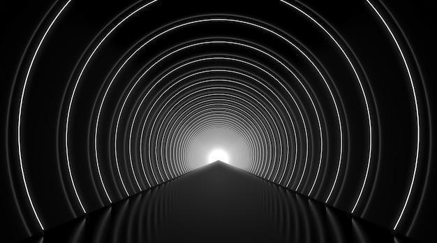 Abstrakter hintergrund des schwarzen und weißen runden tunnelpodiums.