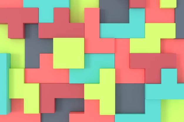 Abstrakter hintergrund des soma-würfels. puzzle 3d-rendering.