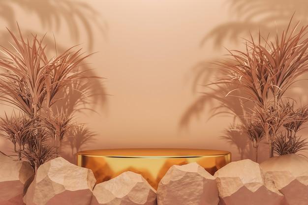 Abstrakter hintergrund für kosmetik- oder schmuckpräsentation, das goldene kreispodium unter beigefarbenen tropischen pflanzen und stein auf beigem hintergrund. 3d-rendering