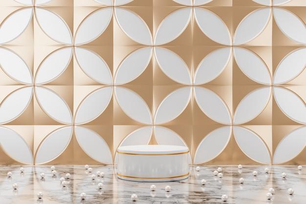 Abstrakter hintergrund für kosmetik- oder schmuckpräsentation, das weiße kreispodium und der goldring auf dem marmortisch und perlenperlen, weißer und champagnergoldener kreismusterhintergrund. 3d-rendering
