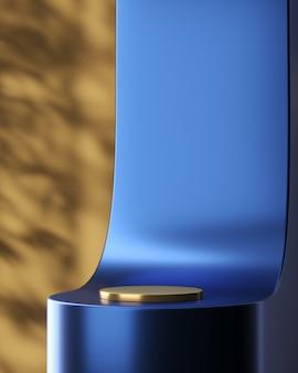 Abstrakter hintergrund für produktpräsentation. blau glänzende kurve und goldene kreisbasis vor braunem hintergrund mit pflanzenschatten. 3d-rendering