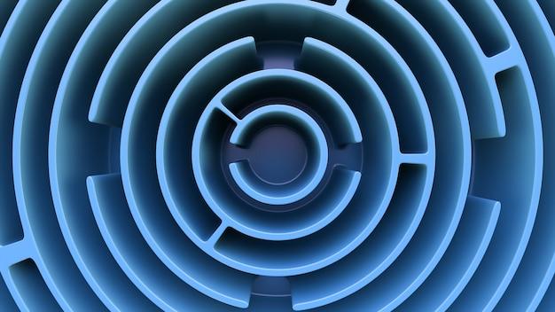 Abstrakter hintergrund im futuristischen stil. kreisförmiges labyrinth. draufsicht.