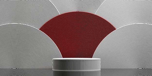 Abstrakter hintergrund im japanischen stil podium für die produktpräsentation 3d-rendering-illustration