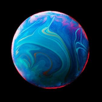 Abstrakter hintergrund mit blauer und rosafarbener kugel